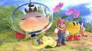 Olimar junto a Mario, Pac-Man y Sonic SSBU.jpg