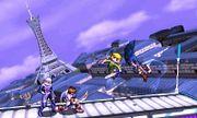 Sheik, Toon Link, Pit y Marth en la Torre Prisma SSB4 (3DS) (2).jpg