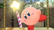 Kirby sosteniendo una varita estelar en el Vergel de la esperanza SSB4 (Wii U).jpg