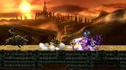 Lucario, Zelda, Bowser y Link en el Gran Puente de Eldin SSB4 (Wii U).jpg
