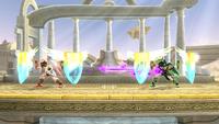 Pit y Pit Sombrío usando los Orbitales escudo en Super Smash Bros. for Wii U