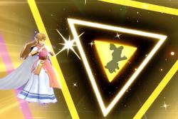 Vista previa de Trifuerza de la Sabiduría en la sección de Técnicas de Super Smash Bros. Ultimate