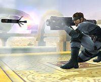 Snake lanzando un misil por control remoto en Super Smash Bros. Brawl