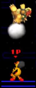 Pac-Man Usando Su Lanzamiento Superior Contra Bowser SSB 3DS.png