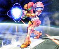 Samus cargando el Disparo carga en Super Smash Bros. Brawl