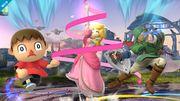 Aldeano, Peach y Link en el Campo de Batalla SSB4 (Wii U).jpg
