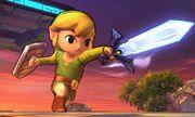Toon Link usando la espada maestra en el Campo de Batalla SSB4 (3DS).jpg