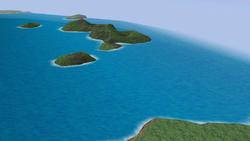 Great Fox acercándose a un grupo de islas.