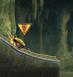 El símbolo de advertencia indica un peligro próximo para los personajes.