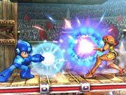 Mega Man y Samus Ataque Portada SSB4 (3DS).jpg