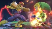 Captain Falcon usando su ataque Smash lateral contra Toon Link SSB4 (Wii U).png