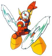 Artwork de Metal Man usando las Metal Blade en Mega Man 2.jpg