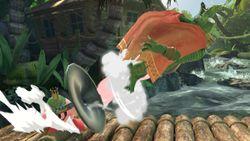 Kirby lanzando a King K. Rool.