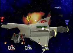 Vista del Sector Z en Super Smash Bros.