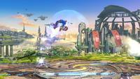 Karateka Mii usando el Salto espectral en Super Smash Bros. Wii U