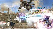 Corrin, Ganondorf, Samus Zero y Lucina en el Coliseo SSB4 (Wii U).jpg