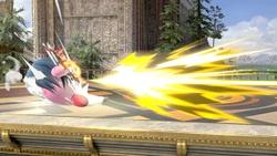 Kirby disparando la flecha cargada.