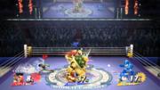 Little Mac, Bowser y Mega Man con sus respectivos medidores de daño SSB4 (Wii U).png