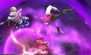 Darkrai junto a Sheik y Little Mac en el Campo de batalla SSB4 (3DS).jpg