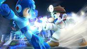 Dr. Mario y Megaman en el Castillo de Wily SSB4 (Wii U).jpg