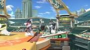 Takamaru y Peleador Mii atacando a Snake SSBU.jpg