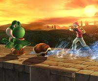 Squirtle usando Refugio en Super Smash Bros. Brawl