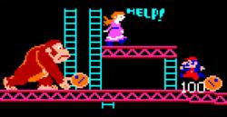 Mario, Donkey Kong y Pauline en Donkey Kong (Arcade).