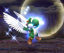 Yoshi usando el Superdragón en Super Smash Bros. Brawl
