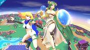 Ámbar y Palutena en Sobrevolando al pueblo SSB4 (Wii U).jpg