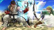 Ryu y Link en el Templo de Palutena SSB4 (Wii U).jpg