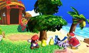 Lucario, Rey Dedede y Mario junto a un árbol en la Isla Tórtimer SSB4 (3DS).jpg