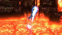 Samus Zero usando las Patadas propulsoras en Super Smash Bros. para Wii U