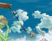 Olimar usando la Cadena Pikmin en Super Smash Bros. Brawl