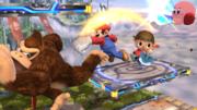 Mario, Donkey Kong, el Aldeano y Kirby en el Campo de Batalla SSB4 (Wii U).png
