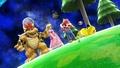 Bowser, Peach, Mario y Pikachu en la Galaxia Mario SSB4 (Wii U).jpg