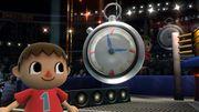Aldeano junto al cronómetro en el Cuadrilátero SSB4 (Wii U) .jpg