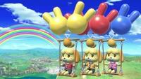 Varias Canelas usando el Columpio de globos en Super Smash Bros. Ultimate