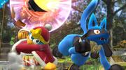 Lucario junto al Rey Dedede en Vergel de la esperanza (Wii U).png