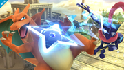 Charizard esquivando el Shuriken de agua de Greninja SSB4 (Wii U).png