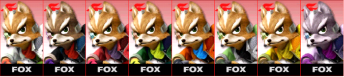 Paleta de colores de Fox SSB4 (3DS).png