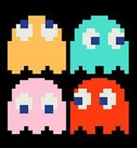 Sprites de los cuatro fantasmas en Pac-Man