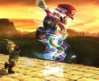 Link usando Bumerán tornado en Super Smash Bros. Brawl