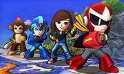 Cuatro de los atuendos de los Luchadores Mii en Campo de batalla SSB4 (3DS).jpg