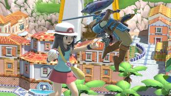 La entrenadora Pokémon y Link en Ciudad Delfino SSBU.png