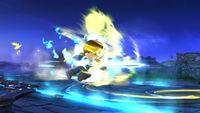 Espadachín Mii ejecutando la Carga de aura en tierra en Super Smash Bros. for Wii U