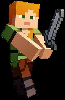 Diseño de Alex en Minecraft Dungeons