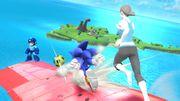 Megaman Sonic y la Entrenadora de Wii Fit con un balón SSB4 (Wii U).jpg
