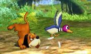 Dúo Duck Hunt usando su ataque rápido en SSB4 (3DS).jpg
