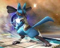 Lucario usando Esfera aural en Super Smash Bros. Brawl