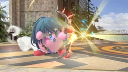 Kirby cargando la flecha.